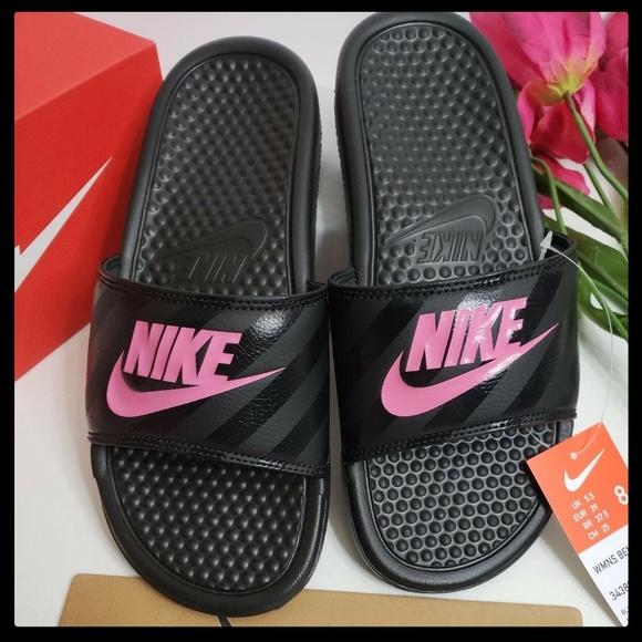 ac3e4d70fb13 Nike Benassi JDI Black Pink (343881-061) Size 8